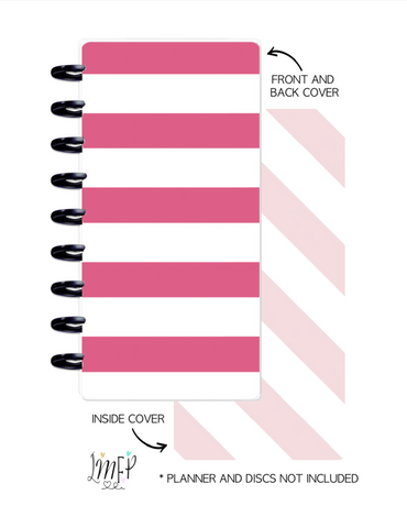 Half Sheet Cover Set of 2 <Double Sided Print> Pink White Stripes