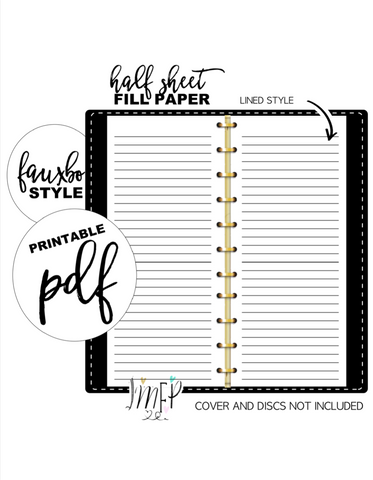 Lined Half Sheet Fill Paper Inserts <PRINTABLE PDF>