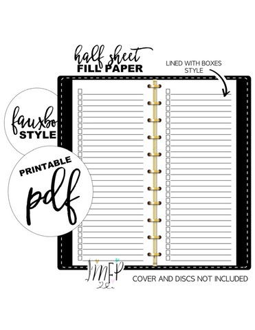 Lined with Boxes Half Sheet Fill Paper Inserts <PRINTABLE PDF>
