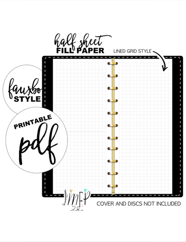 Lined Grid Half Sheet Fill Paper Inserts <PRINTABLE PDF>