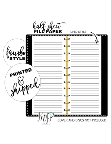 Lined Half Sheet Fill Paper Inserts <PRINTED AND SHIPPED>
