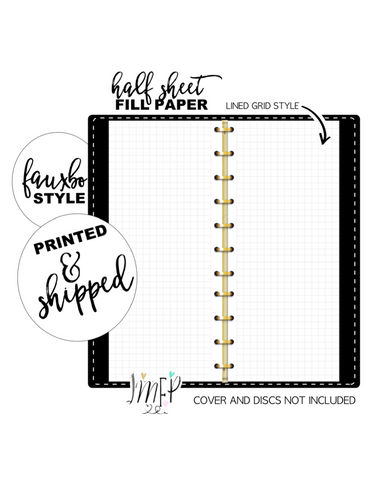 Lined Grid Half Sheet Fill Paper Inserts <PRINTED AND SHIPPED>