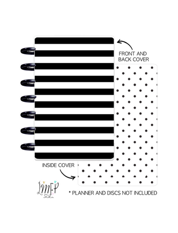 Mini Planner Cover Set of 2 <Double Sided Print> Black and White Stripes