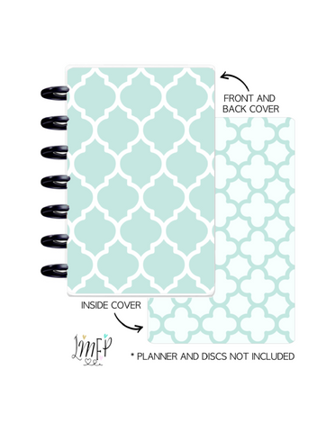 Mini Planner Cover Set of 2 <Double Sided Print> Moroccan Teal