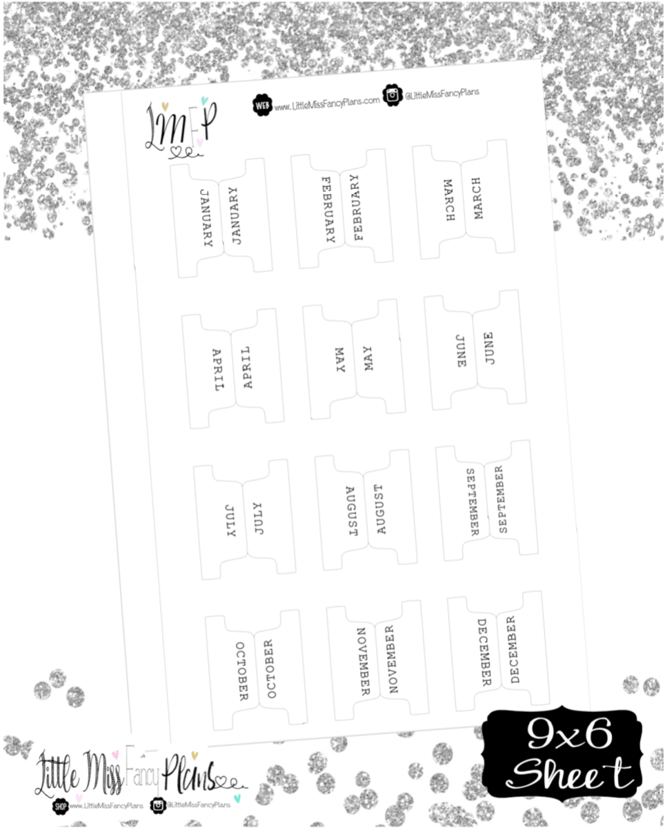 Fold Over Monthly Divider Tabs