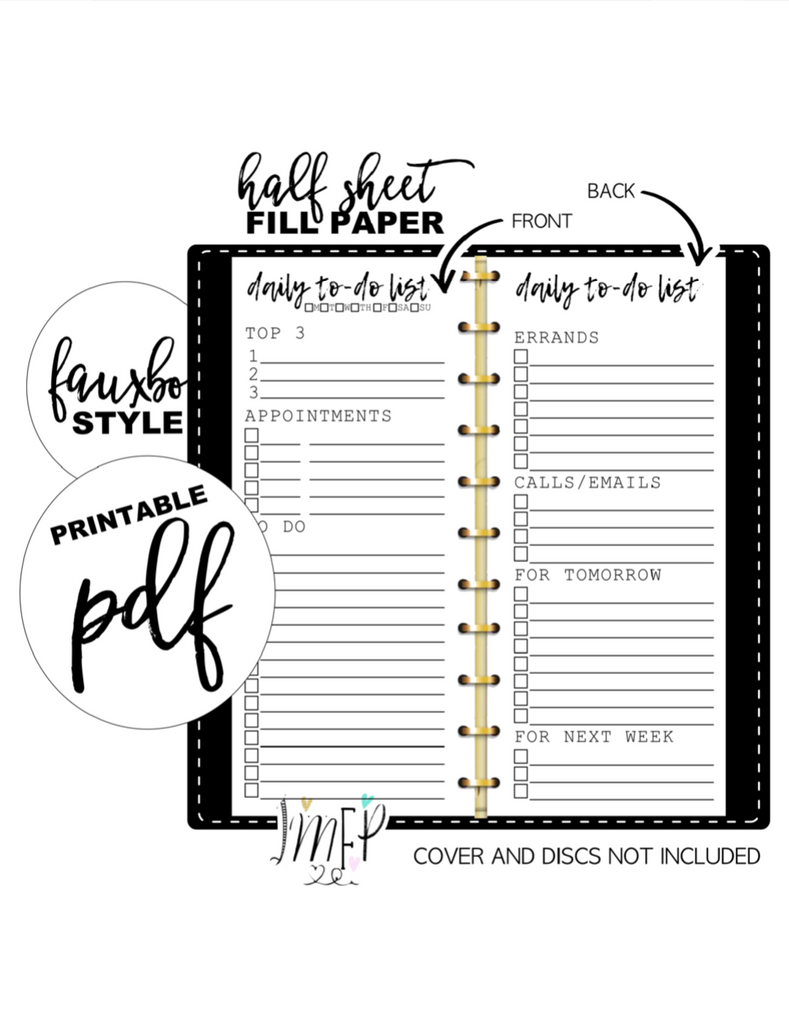 Daily To Do List Half Sheet Fill Paper Inserts <PRINTABLE PDF>