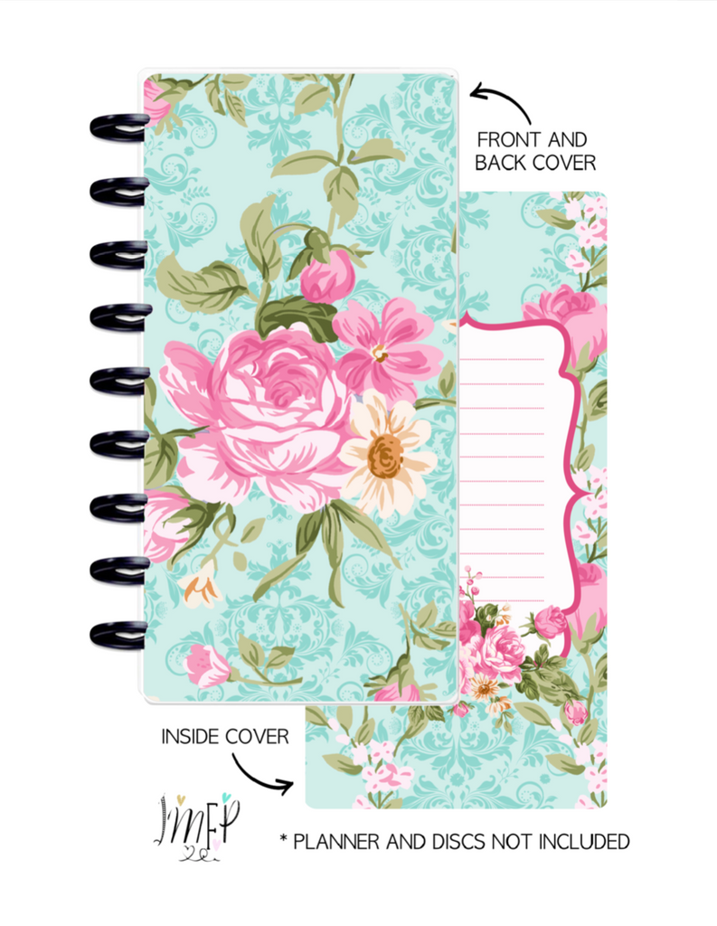 Half Sheet Cover Set of 2 <Double Sided Print> Floral Chic Teal