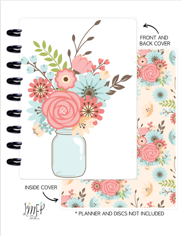 Classic Cover Set of 2 <Double Sided Print> Mason Jar Florals