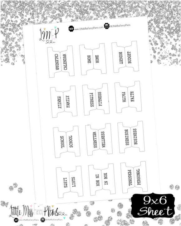Fold Over Planner Subject Divider Tabs | TYPE FONT