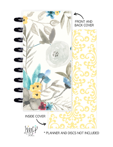 Half Sheet Cover Set of 2 <Double Sided Print> Watercolor Flowers Teal and Yellow