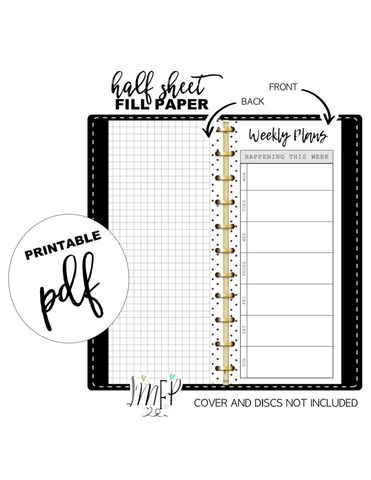 Weekly Plans Half Sheet Fill Paper Inserts <PRINTABLE PDF>