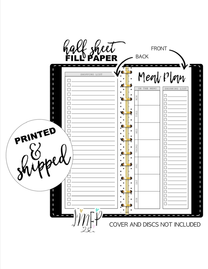 Weekly Meal Plan and Grocery List Fill Paper Inserts <PRINTED AND SHIPPED>