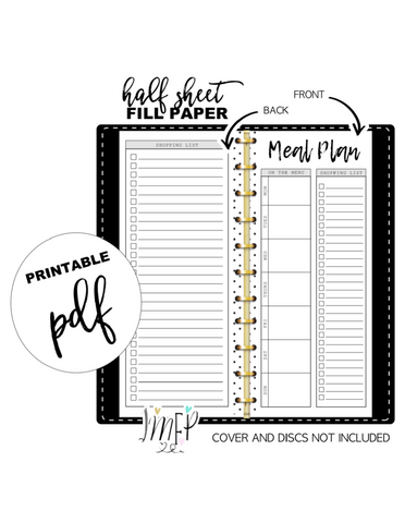 Weekly Meal Plan and Grocery List Half Sheet Fill Paper Inserts <PRINTABLE PDF>