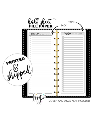 Master To Do List Fill Paper Inserts <PRINTED AND SHIPPED>