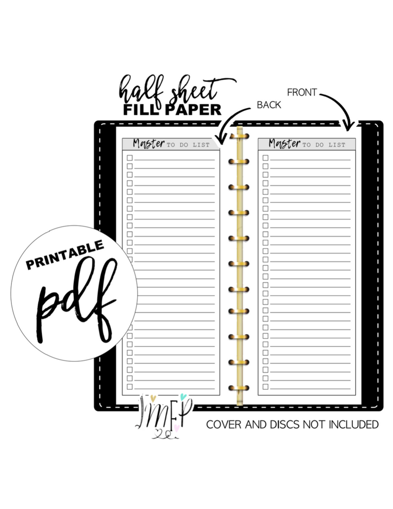 Master To Do List Fill Paper Inserts <PRINTABLE PDF>