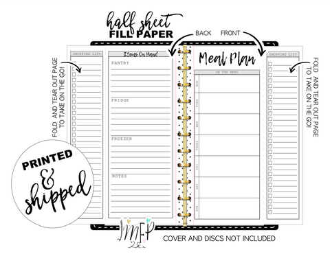 Fold Out Weekly Meal Plan and Grocery List Fill Paper Inserts <PRINTED AND SHIPPED>