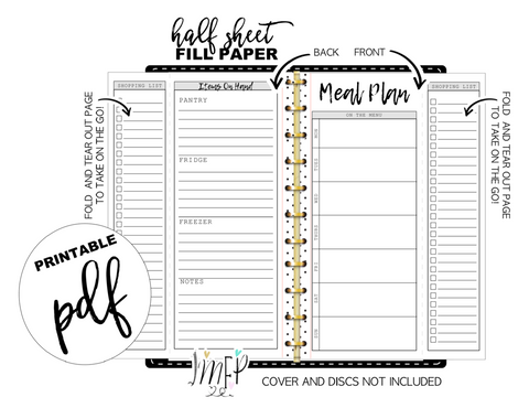 Fold Out Weekly Meal Plan and Grocery List Half Sheet Fill Paper Inserts <PRINTABLE PDF>