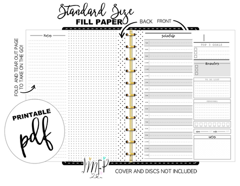 Fold Out Daily Sheet Fill Paper Inserts <PRINTABLE PDF>
