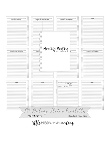 Standard JW MONTHLY Meeting Notebook Inserts <PRINTABLE PDF>