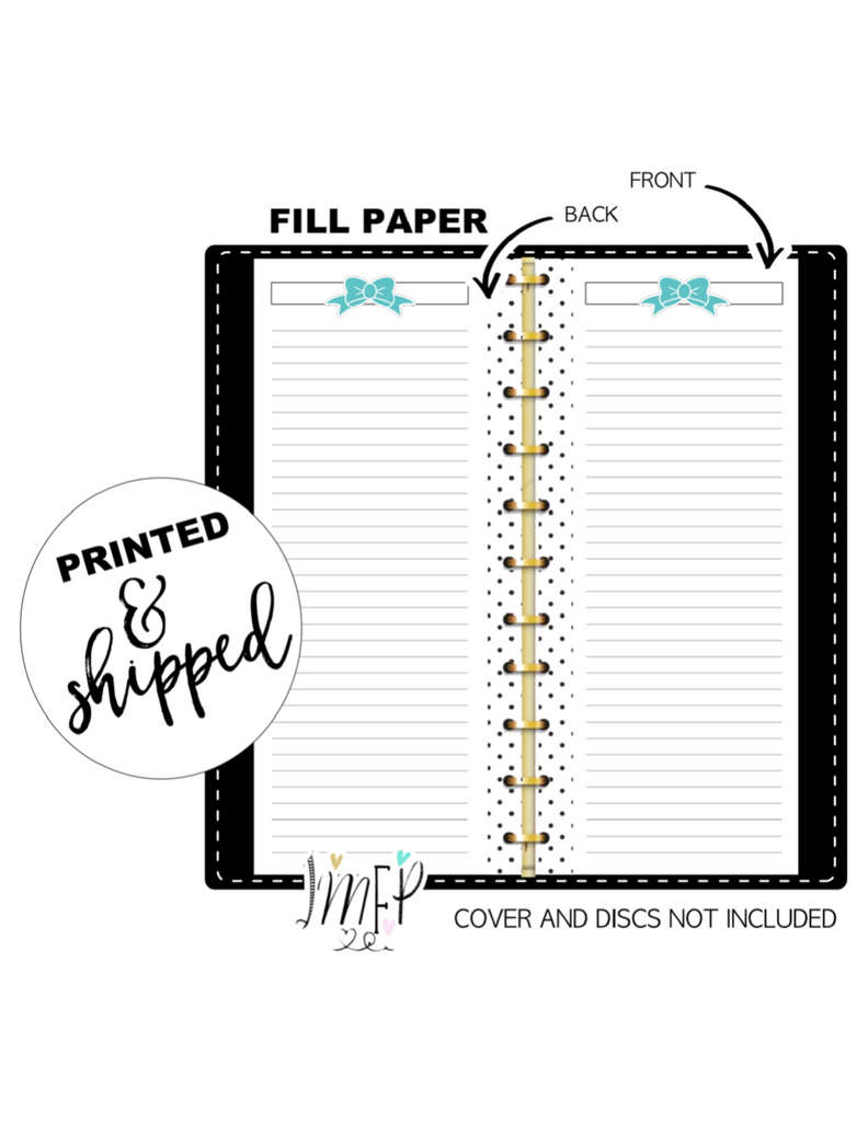 Teal Bow Lined Fill Paper Inserts <PRINTED AND SHIPPED>