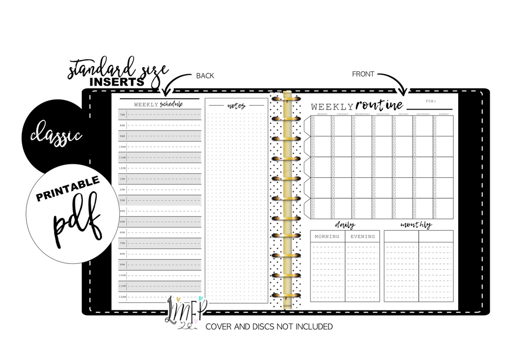 Weekly Routine and Daily Schedule Fill Paper Inserts <PRINTABLE PDF>