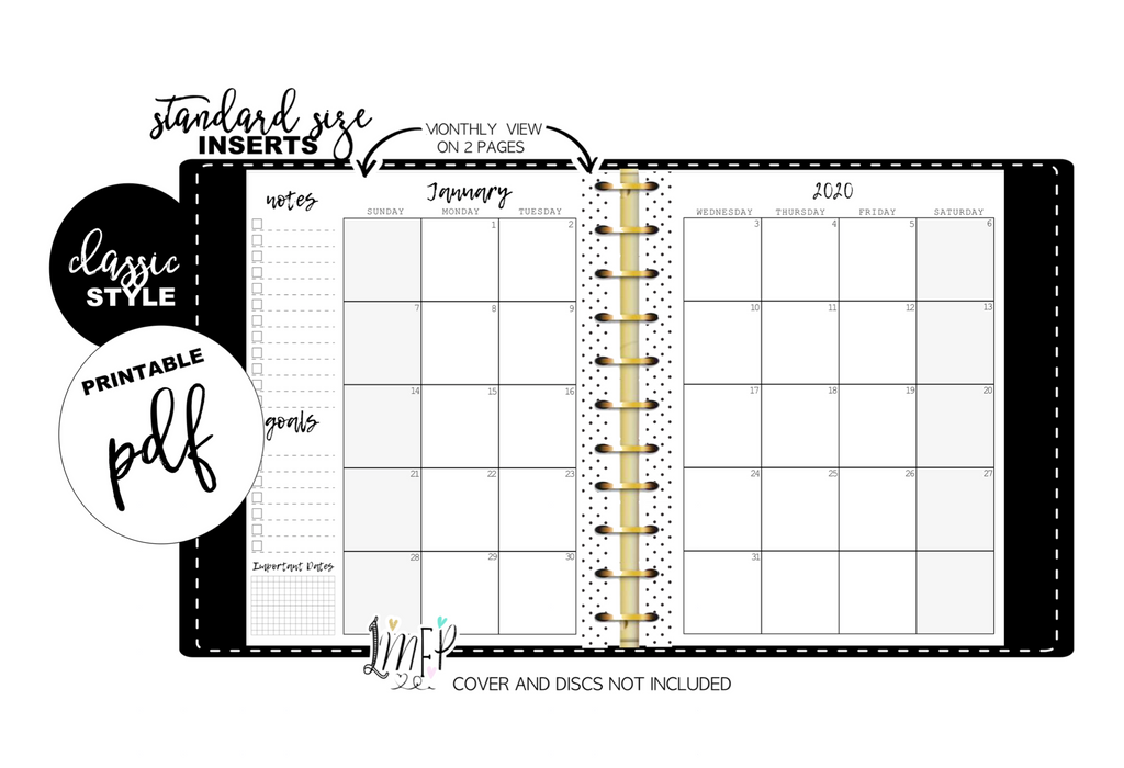 Standard Monthly Style Inserts YEARLY <DATED, PRINTABLE PDF>