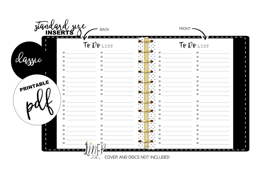 To Do List With Dots Standard Fill Paper Inserts <PRINTABLE PDF>
