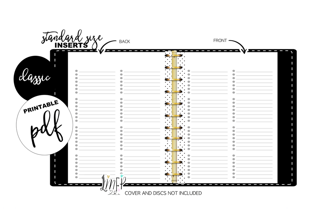 Blank With Dots Standard Fill Paper Inserts <PRINTABLE PDF>