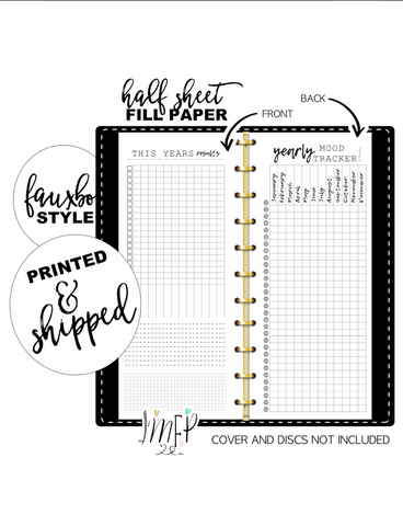 Year In Pixels Mood Tracker Fill Paper <PRINTED AND SHIPPED> Half Sheet