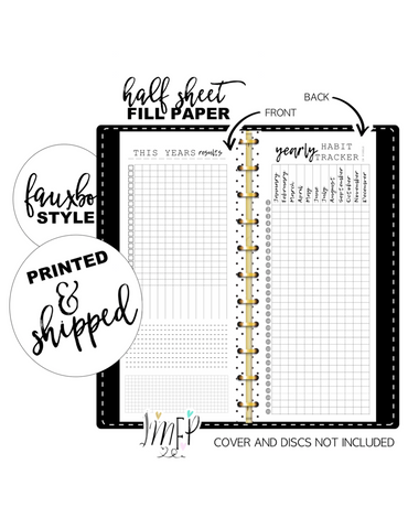 Year In Pixels Habit Tracker Fill Paper <PRINTED AND SHIPPED> Half Sheet
