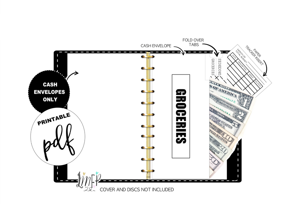 Budget Cash Envelopes <PRINTABLE PDF> Black and White