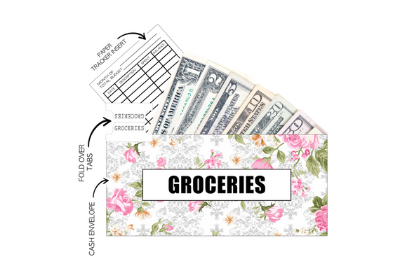 12 Budget Cash Envelopes Laminated <PRINTED AND SHIPPED> Floral Chic