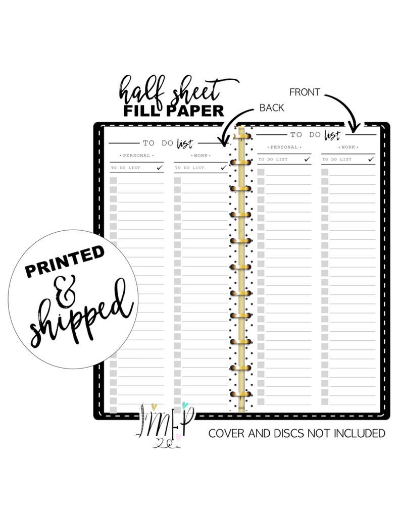 To Do List Personal/Work Fill Paper <PRINTED AND SHIPPED> Half Sheet