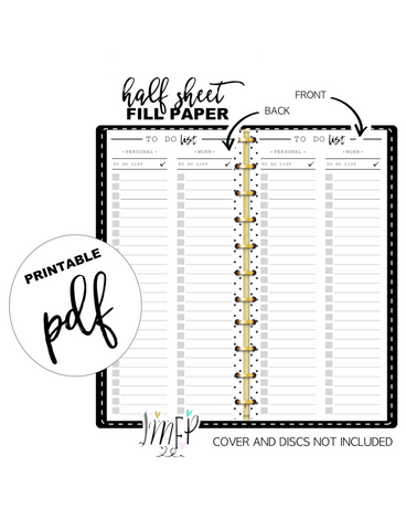 To Do List Personal/Work Fill Paper <PRINTABLE PDF> Half Sheet