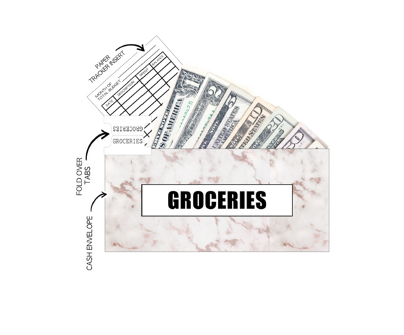 12 Budget Cash Envelopes Laminated <PRINTED AND SHIPPED> Marble Dreams PEACH