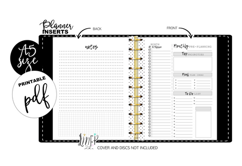 Monthly Pre Planning A5 Fill Paper Inserts <PRINTABLE PDF>