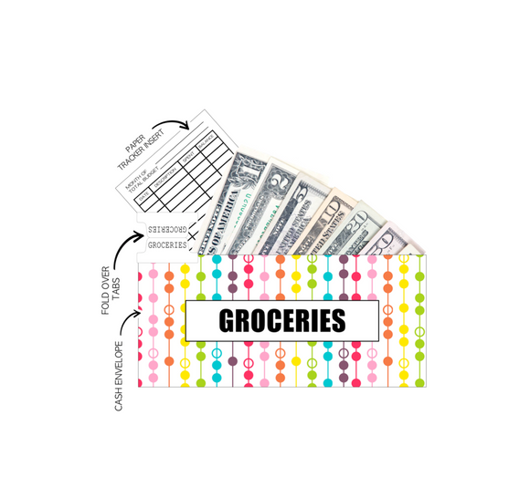 12 Budget Cash Envelopes Laminated <PRINTED AND SHIPPED> Rainbow Dots and Lines