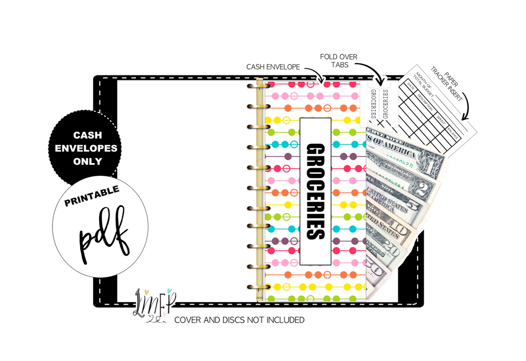 Budget Cash Envelopes <PRINTABLE PDF> Rainbow Dots and Lines