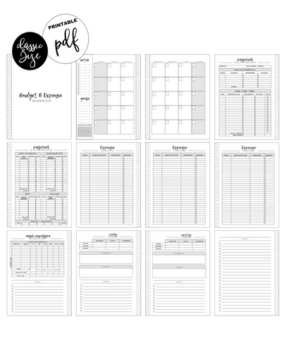 Paycheck Budget and Expense Workbook Inserts <PRINTABLE PDF>