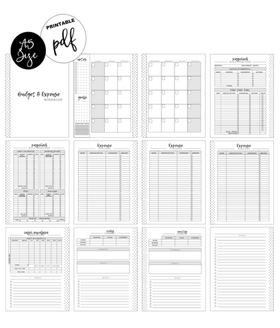 A5 Paycheck Budget and Expense Workbook Inserts <PRINTABLE PDF>