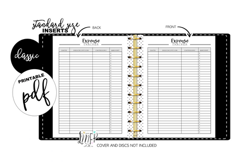 Expense Tracker Standard Fill Paper Inserts <PRINTABLE PDF>