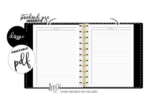 Notes Standard Fill Paper Inserts <PRINTABLE PDF>