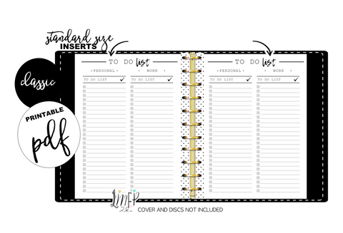 To Do List Personal/WorK Standard Fill Paper Inserts <PRINTABLE PDF>