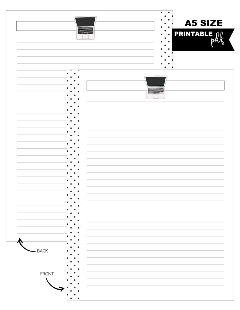 A5 Laptop Fill Paper Inserts <PRINTABLE PDF>