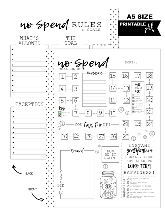 A5 Monthly No Spend Fill Paper Inserts <PRINTABLE PDF>