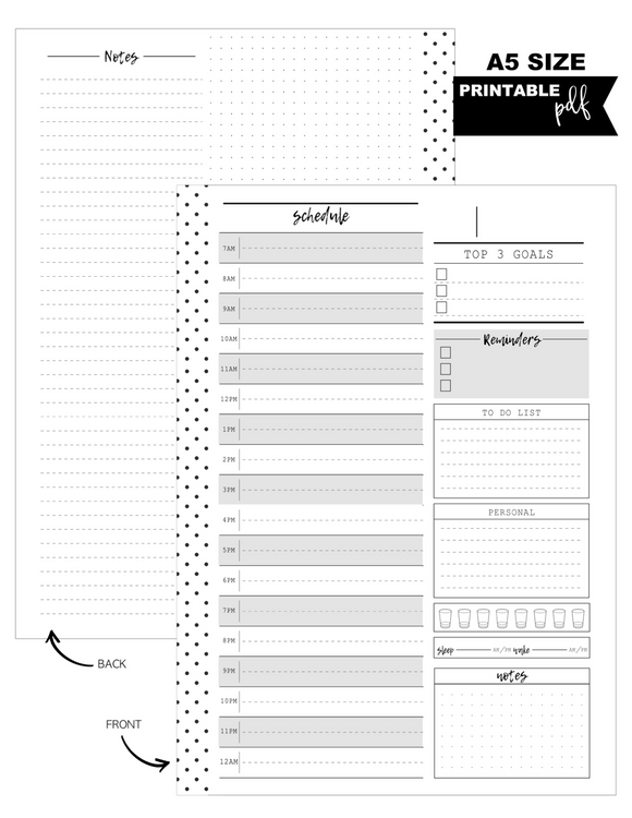 A5 Daily Pages Planner Inserts <PRINTABLE PDF>