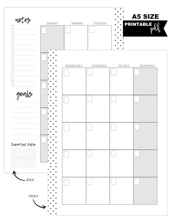 A5 Monthly Pages Planner Inserts <PRINTABLE PDF>