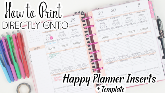 Template For Printing On Happy Planner Inserts with Top 3 <Printables>  | Classic Size Happy Planner