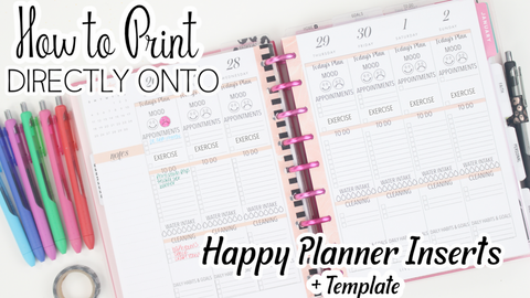 Template For Printing On Happy Planner Inserts with Mood Tracker <Printables>  | Classic Size Happy Planner