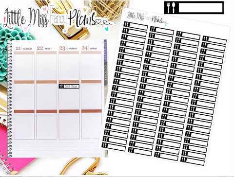 Meal Planner Icon Stickers Black and White | Erin Condren, Happy Planner Stickers, Personal Planner
